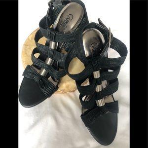 Carlos Santana Black Heel Sandals